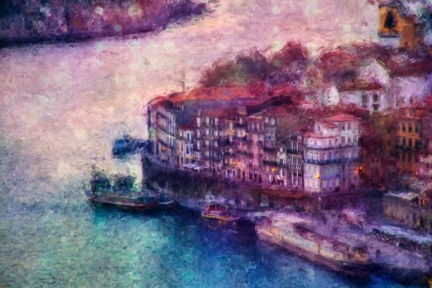 ilustrações de stock, clip art, desenhos animados e ícones de view of porto with ribeira over douro river - douro