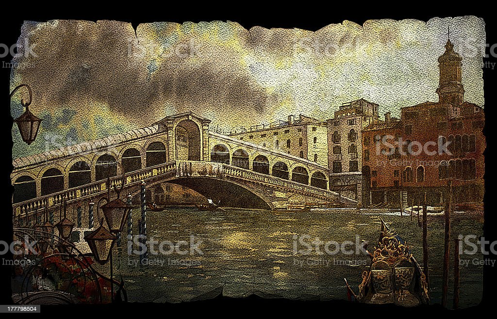 View of Rialto bridge in Venice vector art illustration