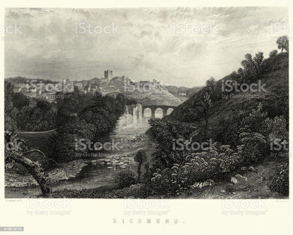 View of Richmond, North Yorkshire, 19th Century vector art illustration