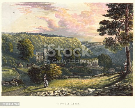 Vintage engraving of a View of Rievaulx Abbey, 19th Century.  Rievaulx Abbey is a former Cistercian abbey in Rievaulx, near Helmsley in , North Yorkshire, England.