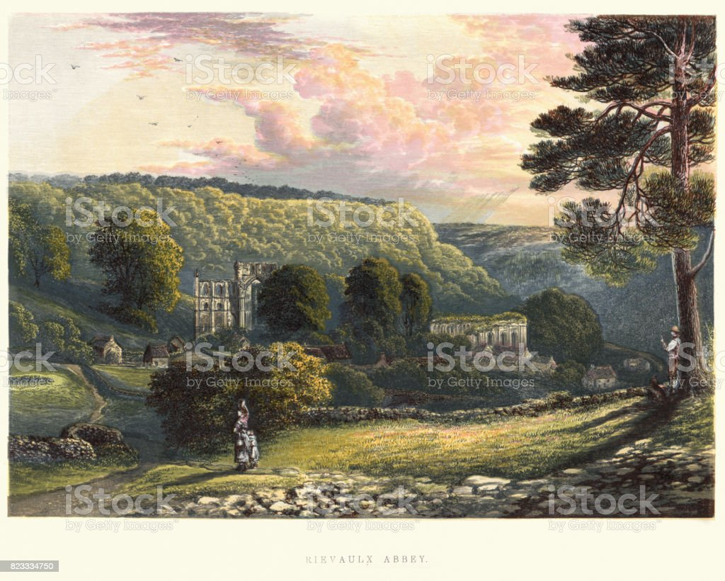 View of Rievaulx Abbey, 19th Century vector art illustration