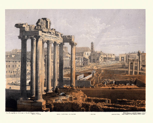 View of ruins of Ancient Rome, Temple of Saturn, Colosseum vector art illustration