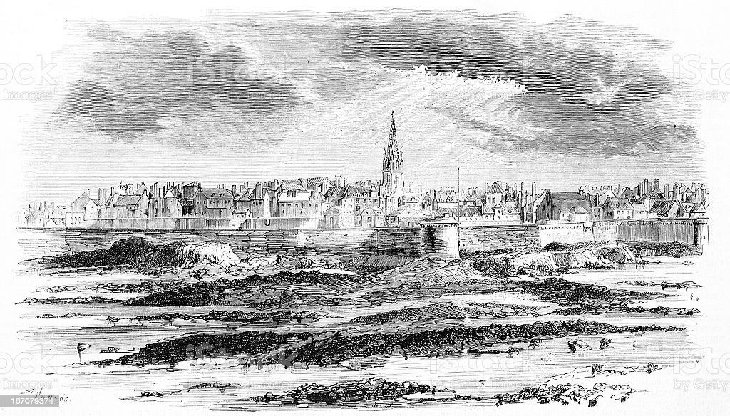 Vue de Saint-Malo - Illustration vectorielle