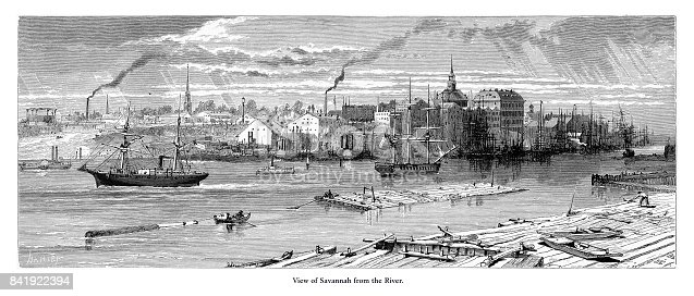 Very Rare, Beautifully Illustrated Antique Engraving of View of Savannah from the Savannah River, Savannah, Georgia, United States, American Victorian Engraving, 1872. Source: Original edition from my own archives. Copyright has expired on this artwork. Digitally restored.