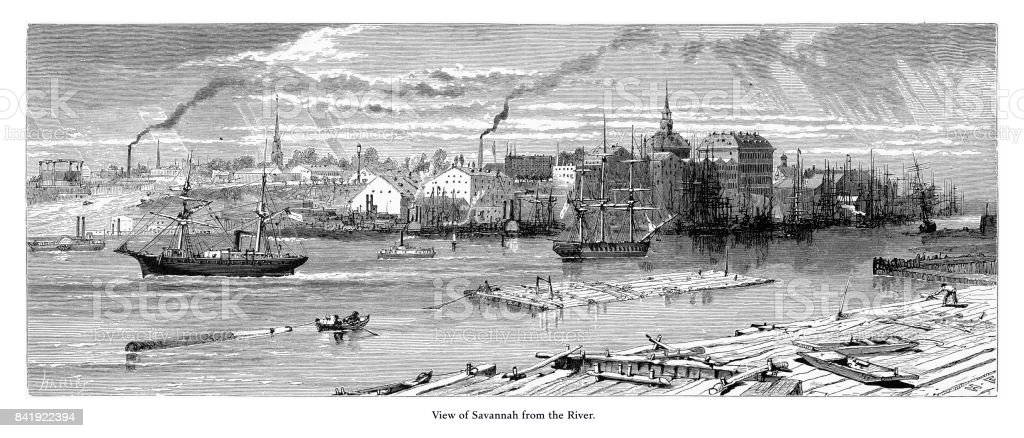 View of Savannah from the Savannah River, Savannah, Georgia, United States, American Victorian Engraving, 1872 vector art illustration