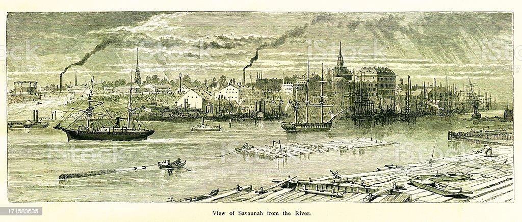 View of Savannah Georgia vector art illustration
