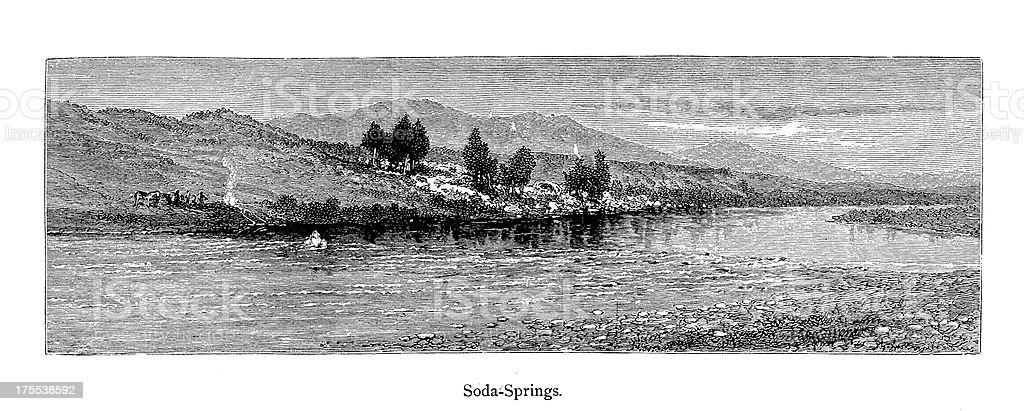 View of Soda Springs, Montana | Historic American Illustrations royalty-free stock vector art