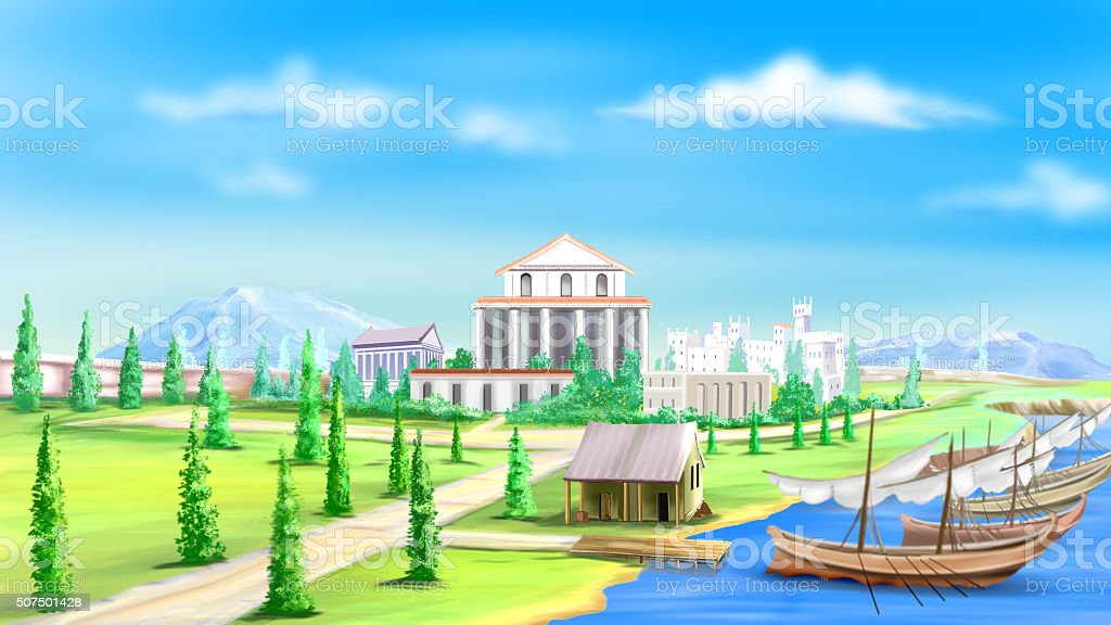 View of the Ancient City vector art illustration