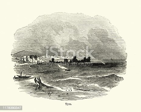 Vintage engraving of a View of the City of Tyre, 19th Century