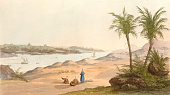 Vintage illustration showing a view of the Pyramids.