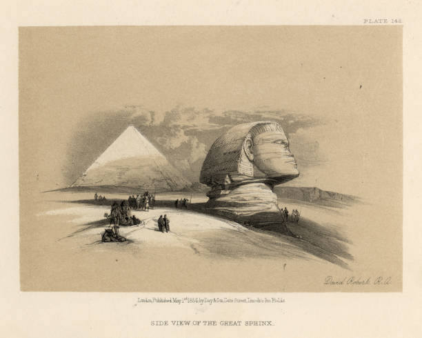View of the Great Sphinx, Egypt, 19th Century vector art illustration