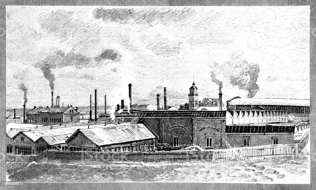 Weergave van het industriële gebied van Stettin met vele schoorstenenvectorkunst illustratie