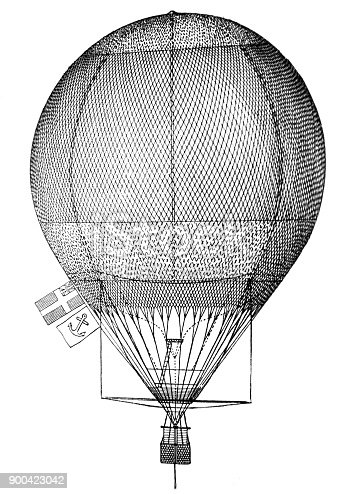 View of the medieval air balloon - 1896