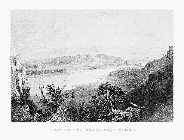 stockillustraties, clipart, cartoons en iconen met view of the meuse river near namur, belgium circa 1887 - maasvallei