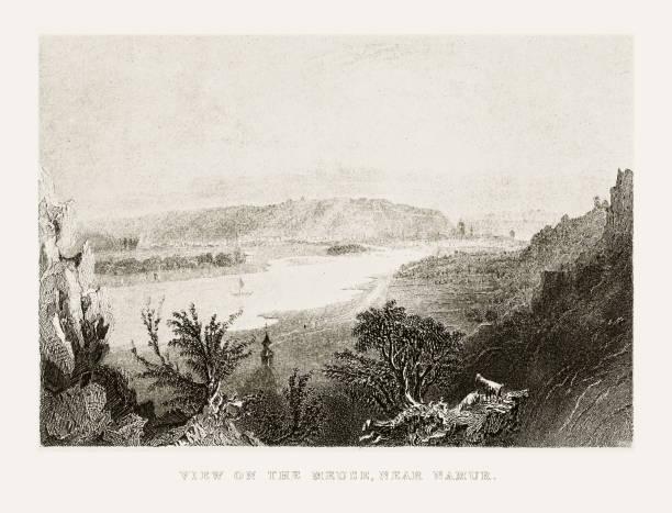 stockillustraties, clipart, cartoons en iconen met uitzicht op de maas in de buurt van namur, belgium circa 1887 - maasvallei