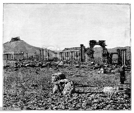 Illustration of a View of the rubble city Palmyra