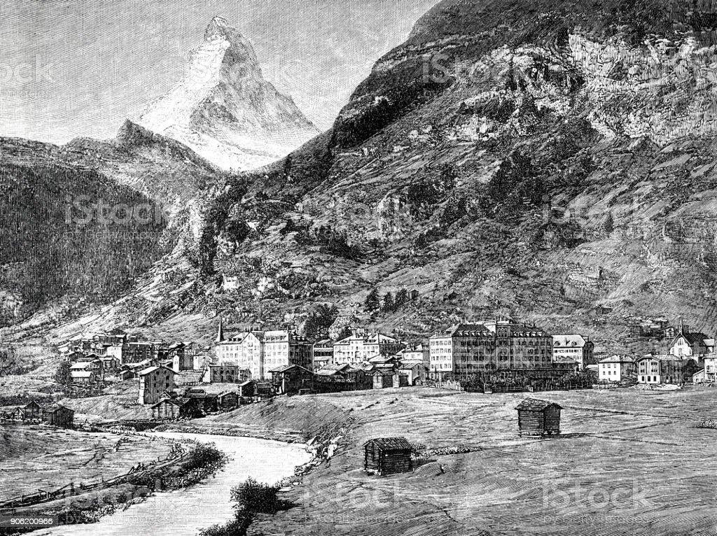 View of the village Zermatt and the Matterhorn, Switzerland vector art illustration