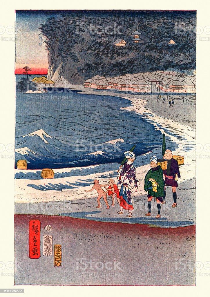 View of Tokaido by Hiroshige vector art illustration