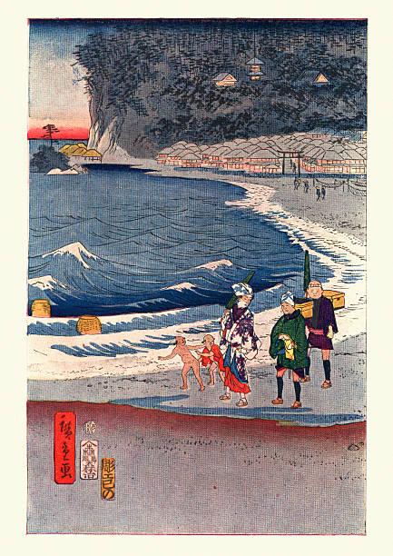 bildbanksillustrationer, clip art samt tecknat material och ikoner med view of tokaido by hiroshige - japanskt ursprung