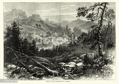 Vintage engraving of View on the frontiers of Canada, 19th Century