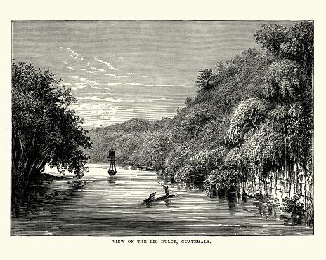 View on the Rio Dulce, Guatemala, 19th Century