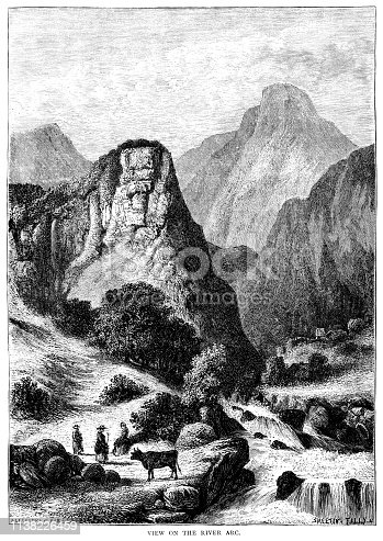 "A view of mountains and pastoral activities beside the River Arc in the Savoie département, south-east France. From ""French Pictures: Drawn With Pen and Pencil"" by the Rev. Samuel G. Green, D.D. Published by The Religious Tract Society, London, 1878."