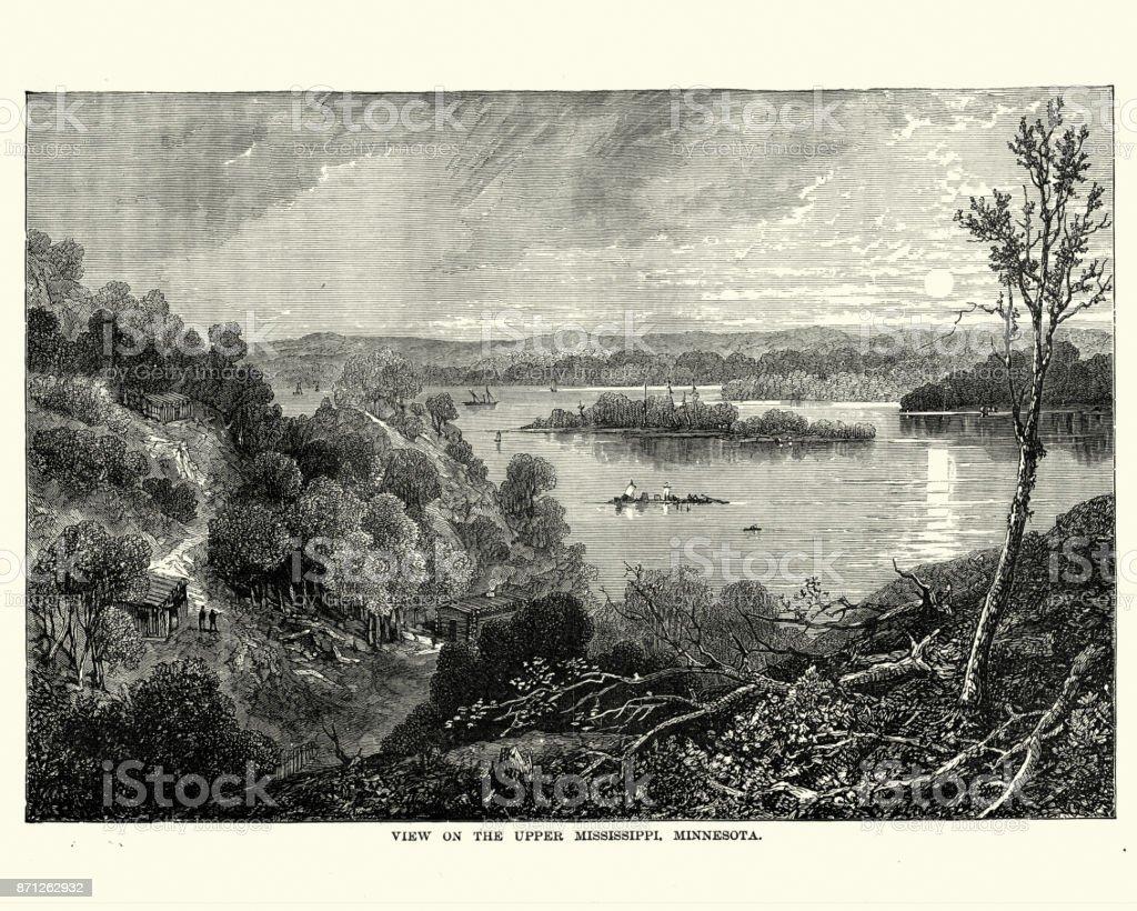 View on the Upper Mississippi river, Minnesota, 19th Century vector art illustration