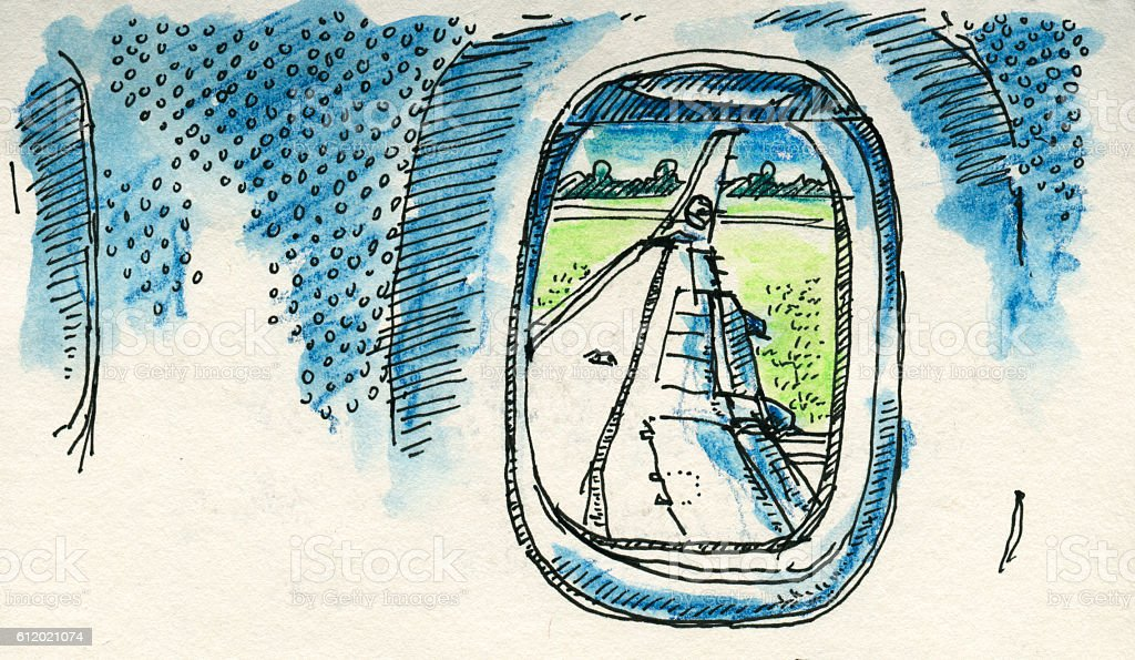 View Out Of Airplane Window Drawing Stock Illustration Download