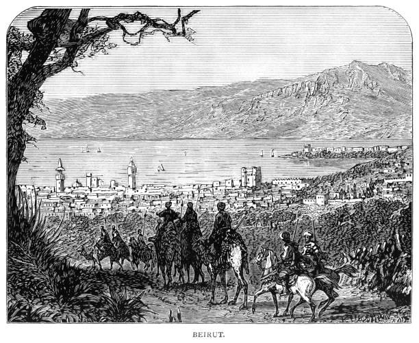 вид на бейрут-викторианский иллюстрация - beirut stock illustrations