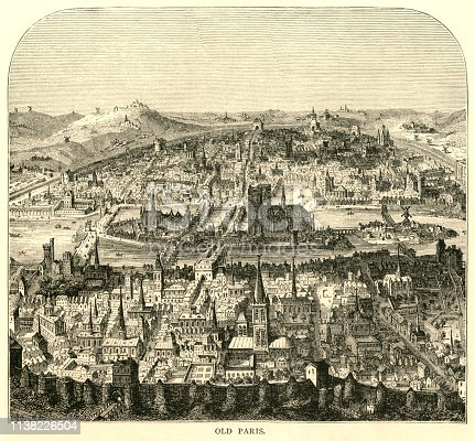 """An elevated view over 'old Paris'. From """"French Pictures: Drawn With Pen and Pencil"""" by the Rev. Samuel G. Green, D.D. Published by The Religious Tract Society, London, 1878."""