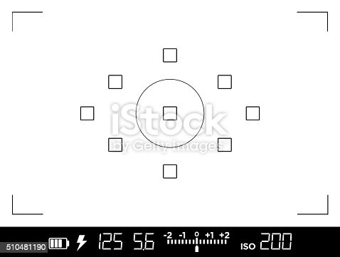 View through the viewfinder of a DSLR camera with data about exposure, shutter speed, aperture, ISO sensibility and focus points. Current settings are: 1/125s shutter speed, f:5.6 aperture, ISO 200 film sensibility. Icons show also battery charge, flash availability and exposure compensation levels. Display can be easily overlayed on any image.