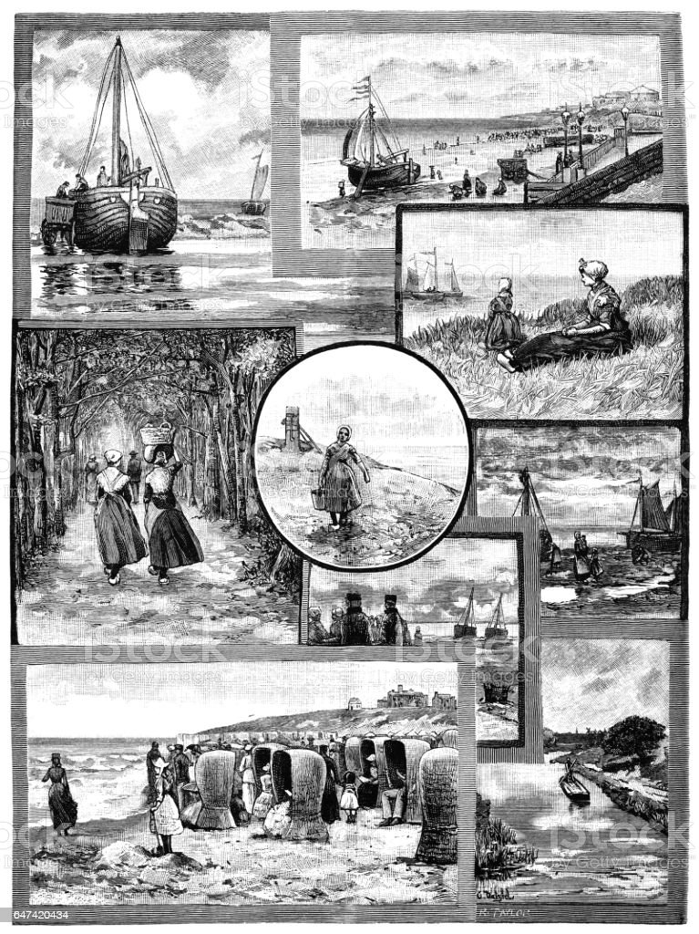Views of 19th century Scheveningen vector art illustration