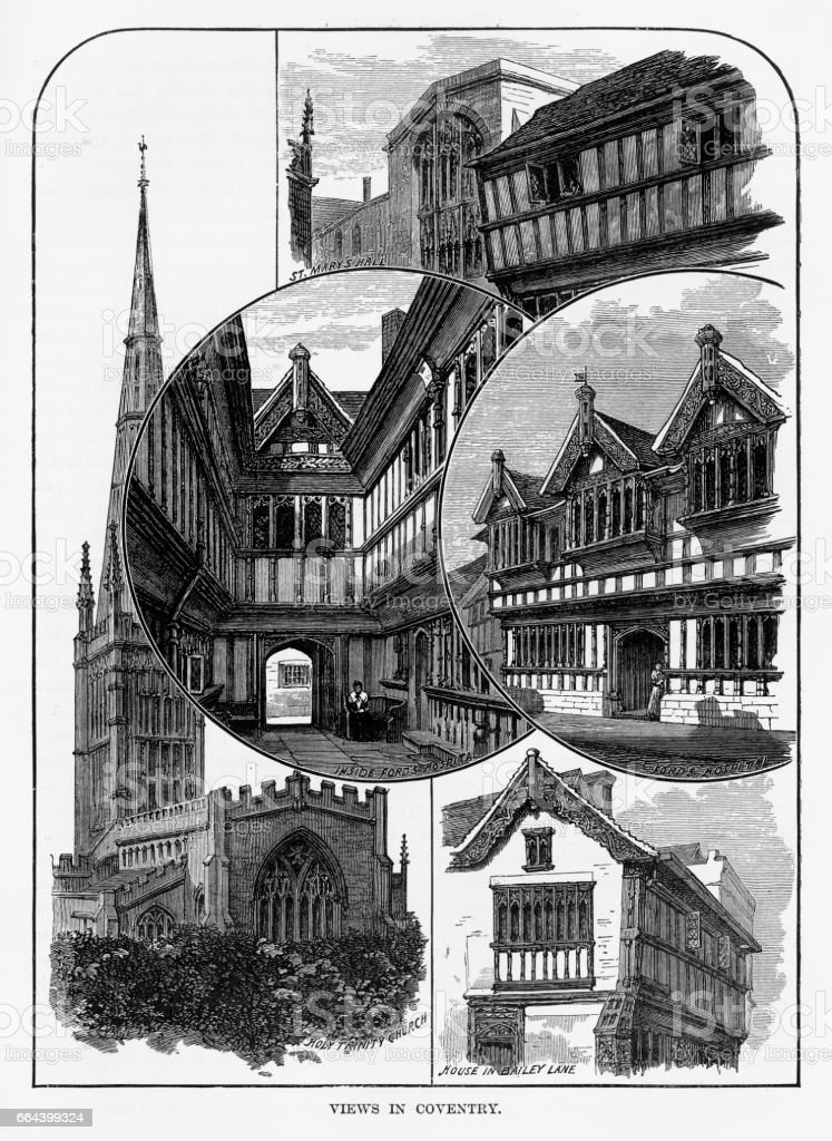 Views of Coventry, Litchfield, Warwickshire, England Victorian Engraving, 1840 vector art illustration
