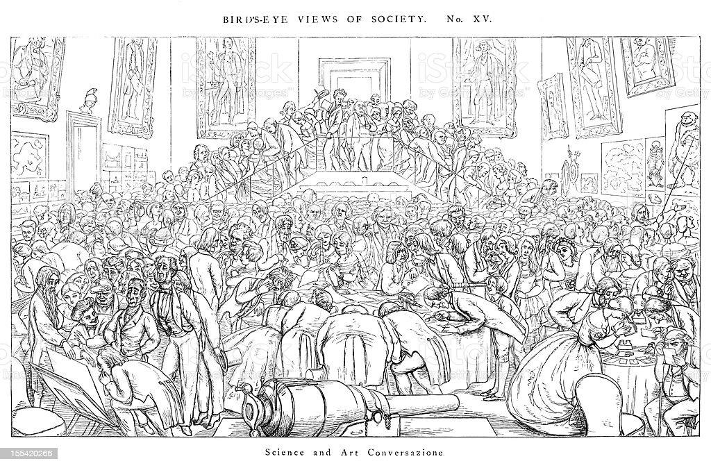 Vista de la sociedad: la ciencia y tecnología Conversazione - ilustración de arte vectorial