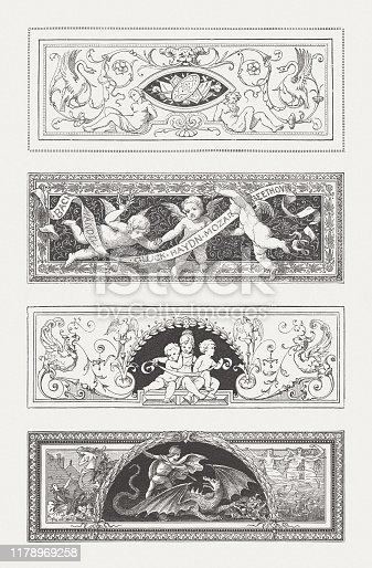 Vignettes with grotesque ornaments: Putti, children, St. George, and ather motifs. Wood engravings, published in 1885.