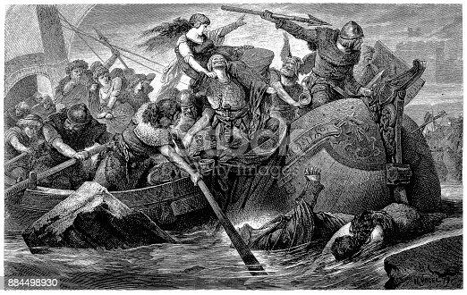 istock Viking raid, wood engraving by Hermann Vogel 884498930