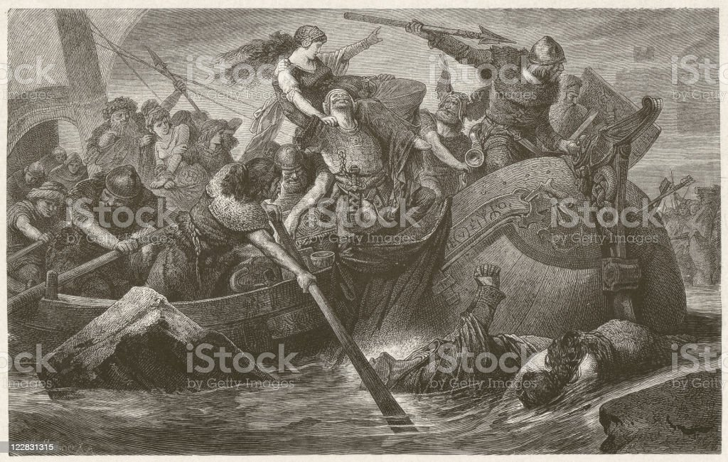 Viking raid, wood engraving by Hermann Vogel, published in 1881 royalty-free stock vector art