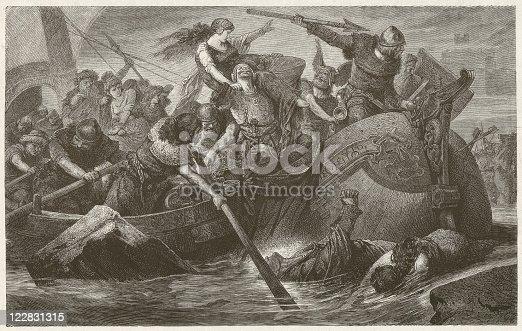 istock Viking raid, wood engraving by Hermann Vogel, published in 1881 122831315