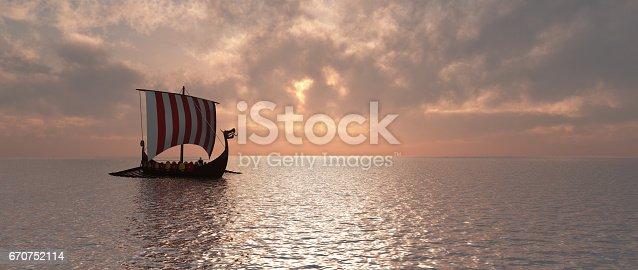 istock Viking ship at dusk 670752114