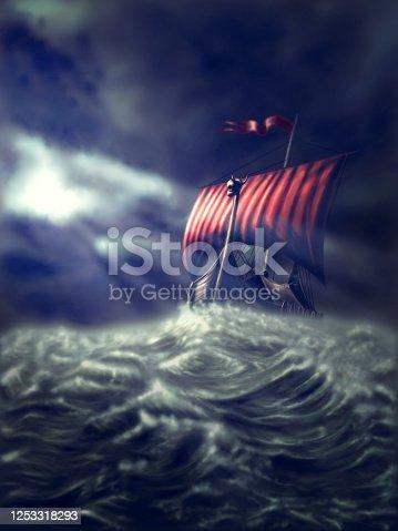 istock Viking ship on a stormy sea 1253318293