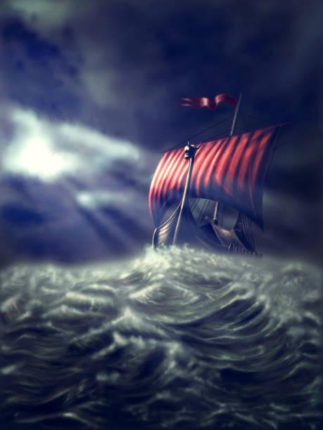Viking ship on a stormy sea vector art illustration