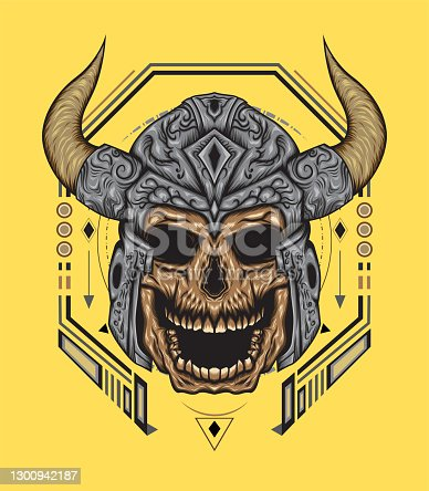 istock viking skull illustration with sacred geometry background 1300942187