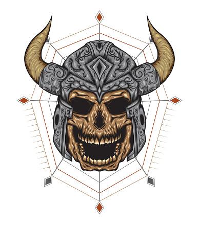 Viking Skulls, design for shirt, apparel.