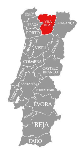 ilustrações de stock, clip art, desenhos animados e ícones de vila real red highlighted in map of portugal - vila real