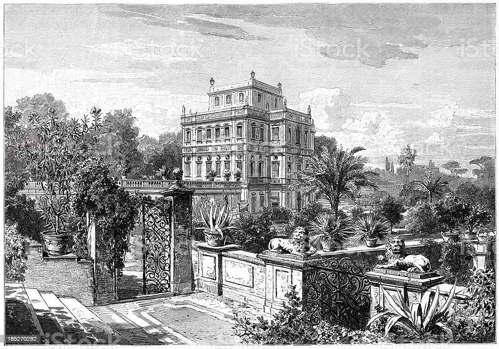 Villa Doria Pamphili, Rome, Engraving royalty-free stock vector art