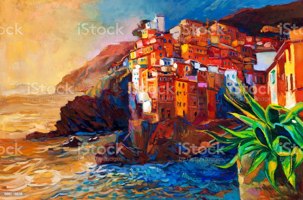 Village and ocean vector art illustration
