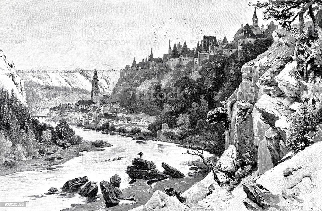 Village Burghausen in the Salzach valley vector art illustration