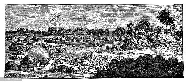 Village by the sea - Scanned 1890 Engraving