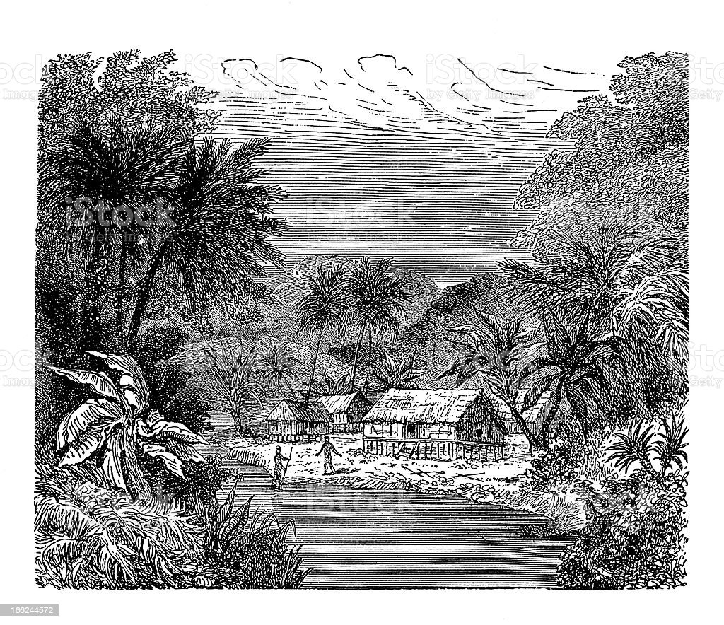 Village in New Guinea (antique wood engraving) vector art illustration