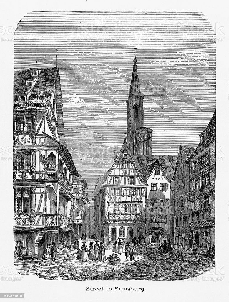 Village of Strasburg, Strasbourg, Germany, Circa 1887 - Illustration vectorielle